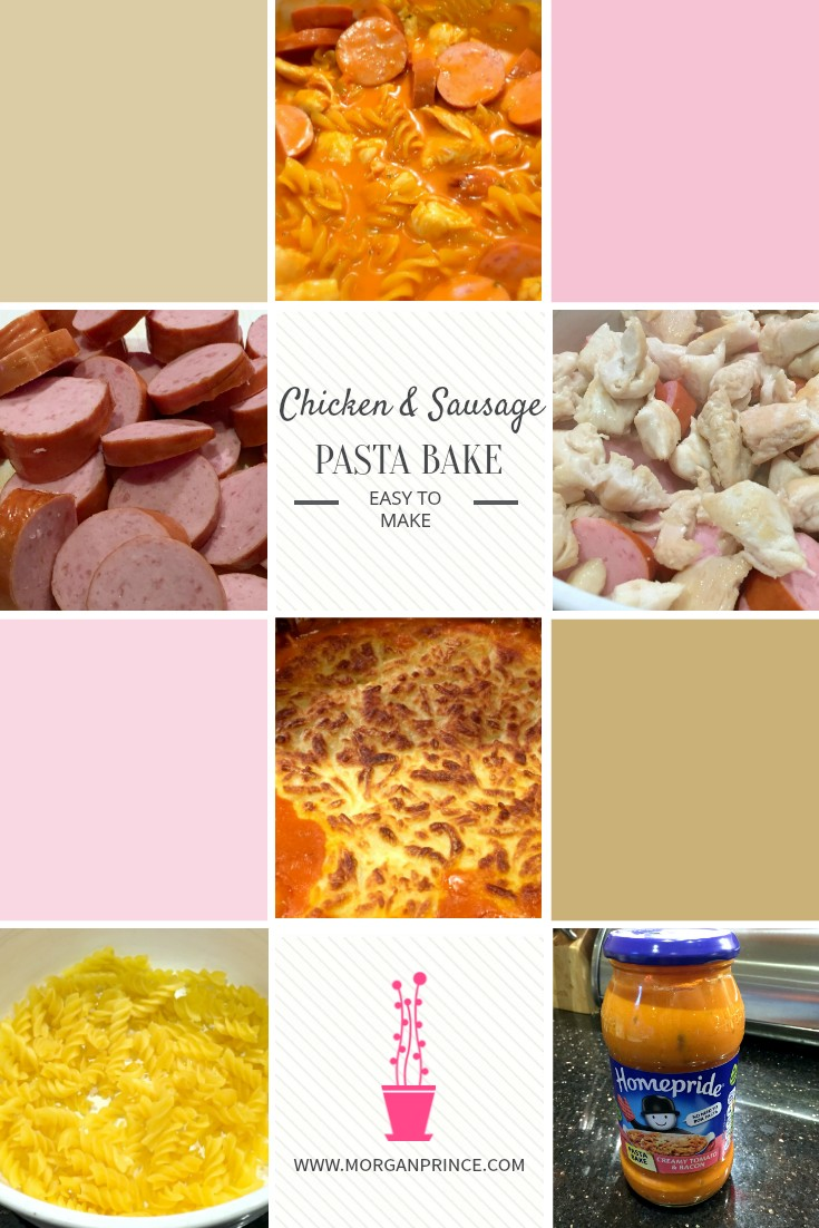 chicken and sausage pasta bake pin