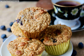 Plate of blueberry banana muffins with steel cut oats