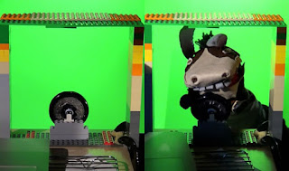 Photographs of a green-screen frame with a steering wheel, and the same frame occupied by a donkey sock puppet.