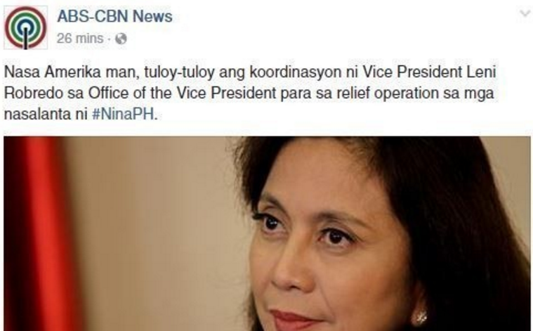 ABS-CBN News received thousands of negative comments on a post about VP Leni's U.S vacation while helping #NinaPH victims