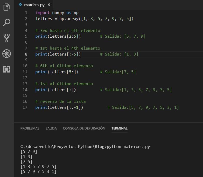 Porciones de una Matriz NumPy