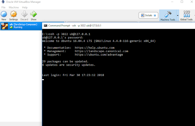 ssh to your ubuntu server virtualbox  machine