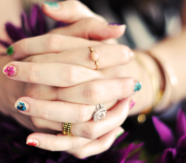 floral manicure, real dried flowers manicure tutorial, nail art