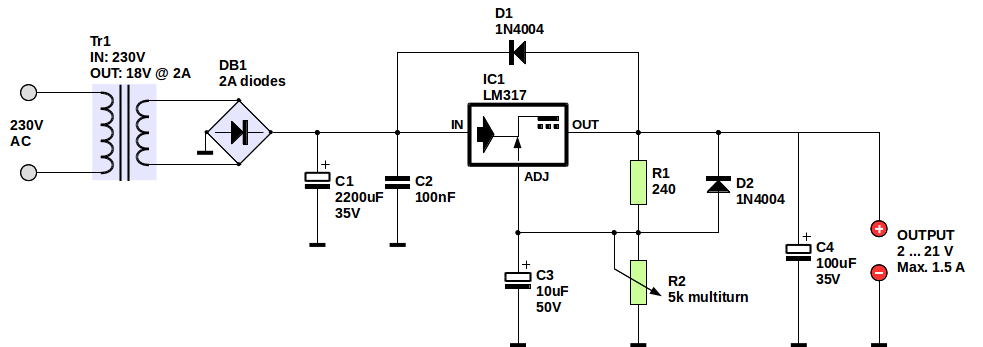 LM317 variable power supply schematic (made with LibreOffice)