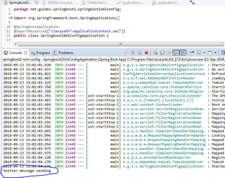 Spring @ImportResource Annotation Example