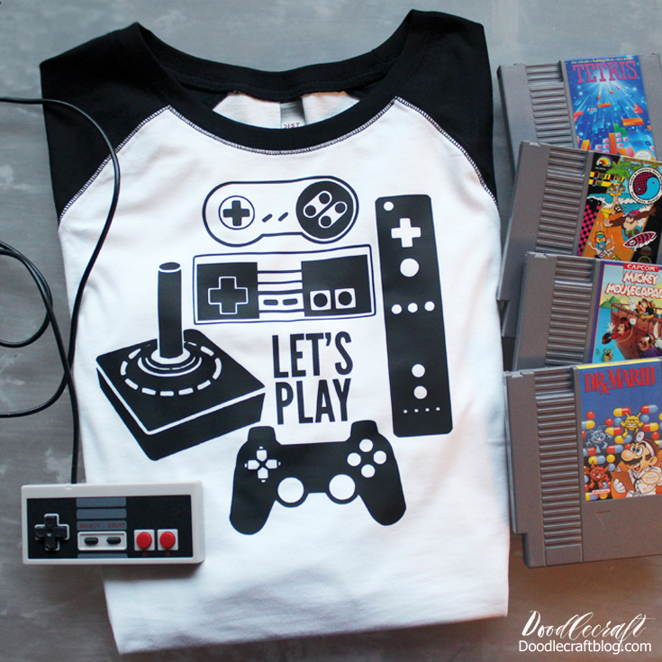 8a21c14f59 Nintendo Controllers Let's Play Iron-On Vinyl Shirt! I love Nintendo. Back  in 1989 my family got an original Nintendo...and guess what? It still works.