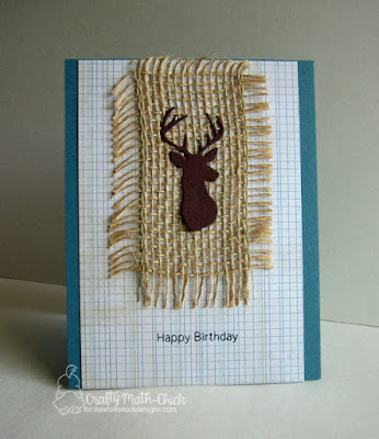 Masculine Stag Burlap Card by Crafty Math Chick | Splendid Stags die set and Raccoon Rascals stamp set by Newton's Nook Designs