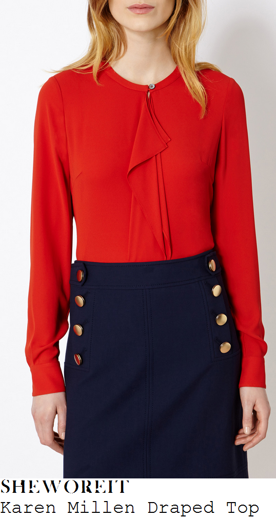 holly-willoughby-orange-red-long-sleeve-drape-frill-detail-top-this-morning