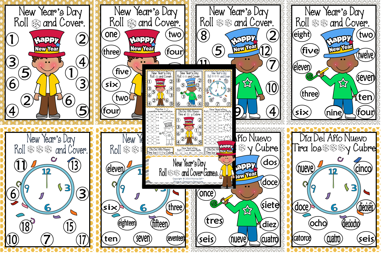 http://www.teacherspayteachers.com/Product/New-Years-Day-Roll-and-Cover-Games-1195235