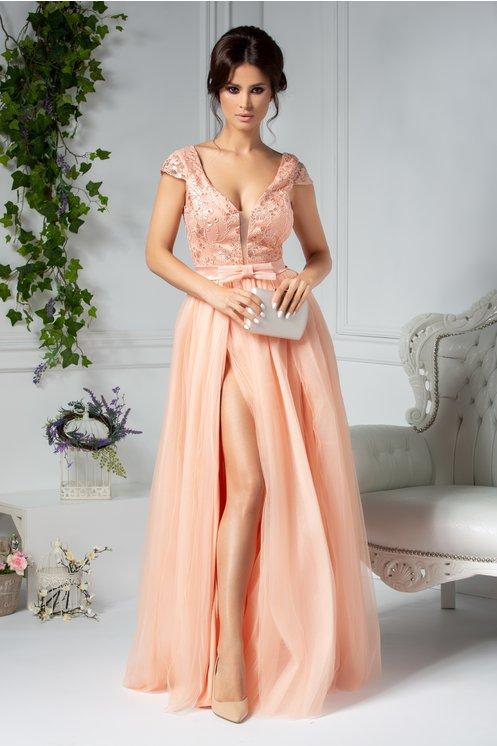 Rochie eleganta de vara lunga de seara somon cu broderie la bust
