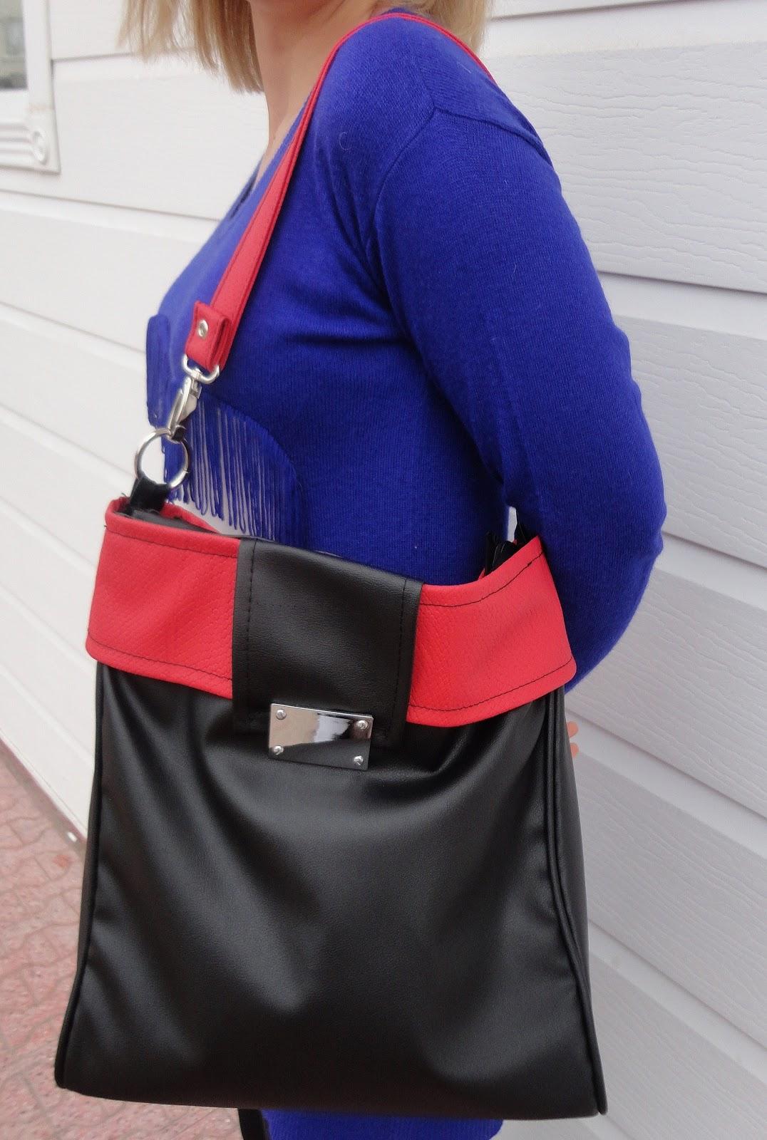 c22c47b80e778 Kırmızı Siyah Deri Çanta Dikimi