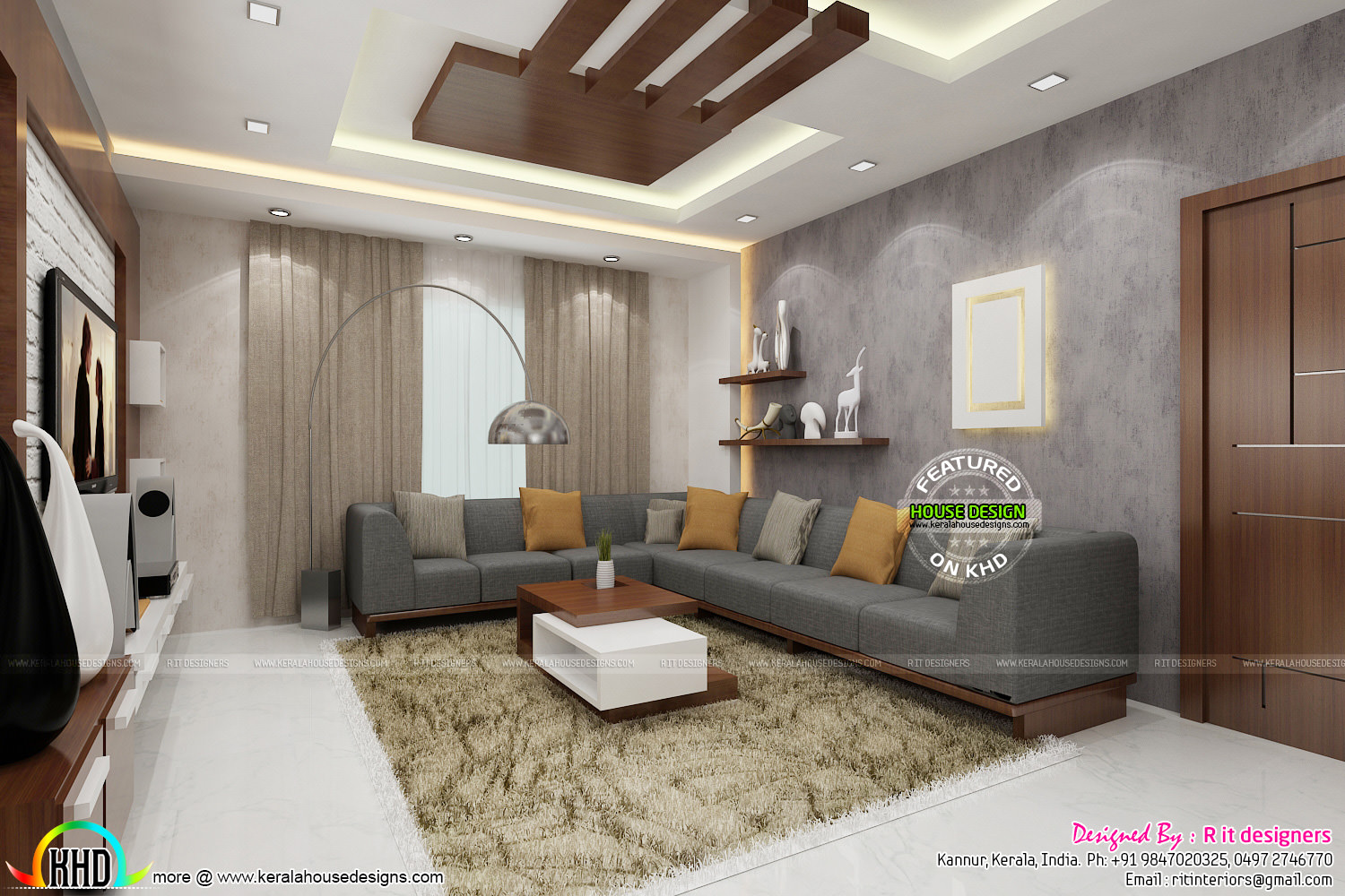 Posh living room interior kerala home design and floor plans for Kerala homes interior designs