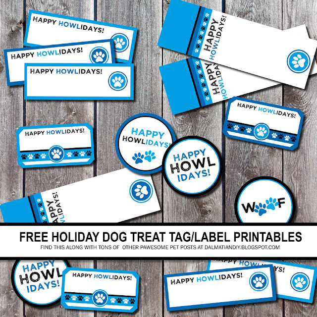 "Black white and blue printable ""Happy Howlidays!"" dog treat tags and labels"
