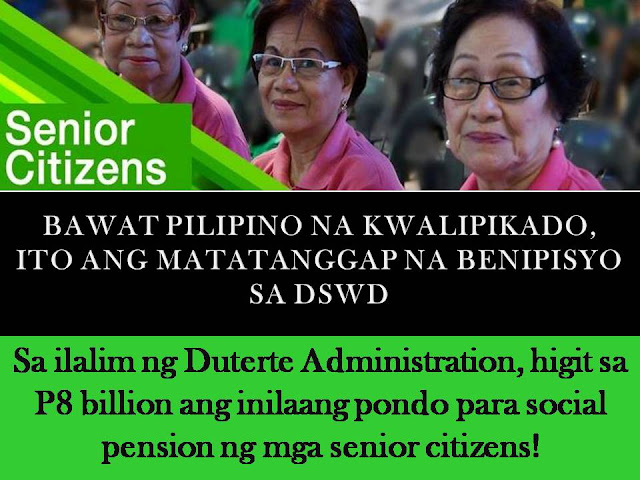 The Department of Social Welfare and Development (DSWD) has allocated a total of P8, 255,820,000 for the social pension fund of senior citizens.  The target beneficiaries of the agency have to reach up to 1,375,970 senior citizens in the whole country.  The allocation is for Social Pension Program for Indigent Senior Citizens (SocPen) that will cover the elderly who are frail, sickly, do not receive any pension and have no other source of income and support coming from their families.  (VIDEO:Pensyon at benepisyo ng mga senior citizen, ipinapanawang dagdagan)    According to DSWD Secretary Judy Taguiwalo, P4,243,330,500 of the allotment have been utilized for this year.  Under the SocPen, the senior citizen beneficiaries will receive quarterly stipend worth P500 each month, as government assistance for their daily living and medical needs.     Other than this, here are more benefits of being Senior Citizen  DISCOUNTS  20% discount on:  -Medical-related privileges  -Medicine and drug purchases  -Medical supplies, accessories, and equipment  -Medical and dental services  -Professional fees of attending physician  -Professional fees of licensed health workers providing home health care services  Transportation  Air and Sea  Land: LRT, MRT, PNR, buses, jeepneys, taxi and shuttle services  Hotels, restaurants, recreational facilities, places of leisure  Hotels, restaurants, theaters, cinemas, concert halls, circuses, leisure and amusement  Recreation centers  Fees, charges, and rental for sports facilities and equipment  Funeral services  Funeral and burial expenses include casket or urn, embalming, cremation cost, and other services.  Utility discount  Grant of a minimum of 5% discount relative to the monthly use of water and electricity, provided that the meter is registered under the name of the senior citizen residing therein and does not exceed 100 kWh and 30 m³.  (VIDEO:DSWD clarifies details of senior citizens' discounts)    EXEMPTIONS  Tax exemption Exemption from payment of individual income tax of those who are considered to be minimum wage earners  Training fee exemption Training fees for socio-economic programs conducted by private and government agencies subject to the guidelines issued by DTI, DOLE, DA, TESDA and DOST-TRC.  GOVERNMENT ASSISTANCE Social Pension  Indigent senior citizens shall be entitled to a monthly stipend amounting to P500 to augment daily subsistence and other medical needs.  Mandatory PhilHealth coverage  All senior citizens are covered by the national health insurance program of PhilHealth.  Social safety nets The social safety assistance shall include, but not be limited to, food, medicines, and financial assistance for house repair to cushion effects of economic, disaster and calamity shocks.  Death benefit assistance  The assistance of a minimum of P2,000 shall be given to the nearest surviving relative who took care of the deceased senior citizen.  OTHERS  Express lanes  Express lanes shall be provided in all private, banking, commercial and government establishments; priority shall be given in their absence.  Educational privileges  Assistance shall be granted to senior citizens to pursue education through the provision of scholarships, grants, financial aids, subsidies and other incentives.  Benefits and privileges for retirees  -Continuance of the same benefits and privileges by GSIS, SSS, and PAG-IBIG as enjoyed by those in active service.  -Privileges on special discounts in special programs  (VIDEO:Rights and Privileges of Senior Citizens)     They are provided with benefits and privileges through the following legislation:  Republic Act No. 7432, or the Expanded Senior Citizens Act of 2003  RA 9994, an amendment to RA 7432 to include additional services  RA 10645, an amendment to RA 9994 to provide mandatory PhilHealth coverage for all senior citizens.    HOW TO GET SENIOR CITIZENS ID?  In order to get and enjoy the above mentioned benefits and privileges of a senior citizen, first you must secure a Senior Citizen's ID.  Requirements:  Birth Certificate  1X1 colored photo (latest)  Valid ID     If you completed the said requirements, just go to the Office of the Senior Citizens Affair (OSCA) in your city or municipality and apply for an ID. Much better if you are being accompanied with one of your daughter or grandchildren.  The staff will just fill the card with your personal info like complete name, birth date, and address.   If your ID is finished, you have to sign it, but first, you must double check if all the details are correct.      Indigent senior citizens or their authorized representative must present their Office of Senior Citizen Affairs ID and birth certificate or any other document proving their date of birth to the nearest OSCA, City/Municipal Social Welfare and Development Office or DSWD Regional Office.  The authorized representative must also present his/her identification card and an authorization letter.  All potential beneficiaries will be assessed to ensure that they qualify for the program. ©2016 THOUGHTSKOTO