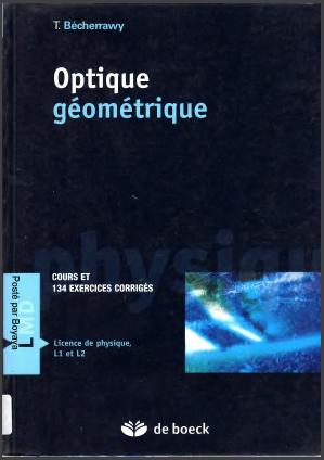 Livre : Optique géométrique, Cours et 134 exercices corrigés - Licence de physique, L1 et L2