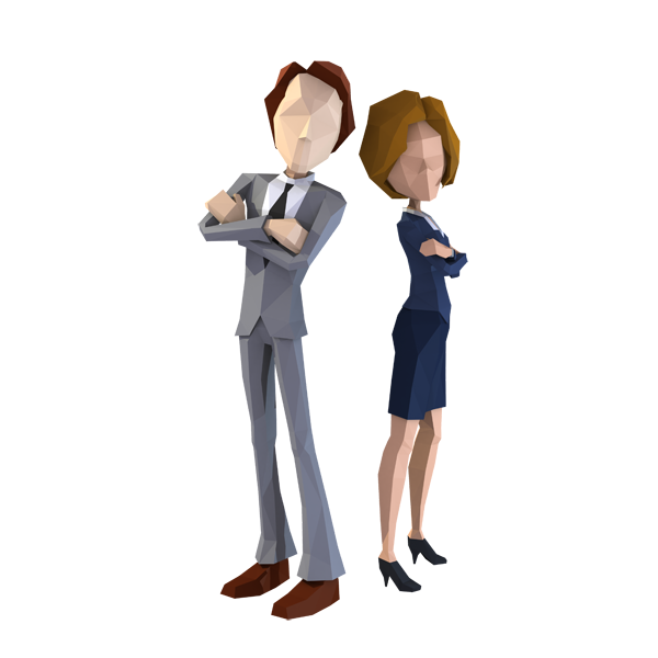 Business Couple Lowpoly Characters
