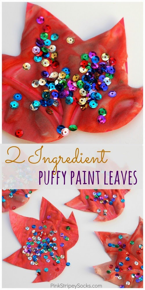 homemade puffy paint leaves for a fun fall craft