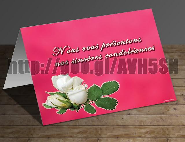 Carte De Condoleances Accompagnant Des Fleurs