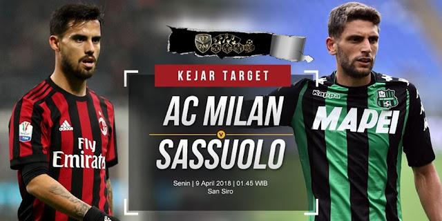 Prediksi AC Milan Vs Sassuolo, Senin 09 April 2018 Pukul 01.45 WIB