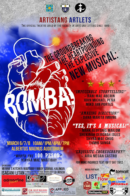 Artistang Artlets presents THE GROUNDBREAKING, THE HEART-POUNDING, THE EXPLOSIVE NEW MUSICAL: BOMBA! (YES, IT'S A MUSICAL.)