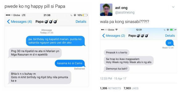 Dad's hilarious responses to his son's text messages during Holy Week go viral