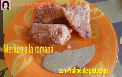 Merluza a la romana con praliné de pistachos