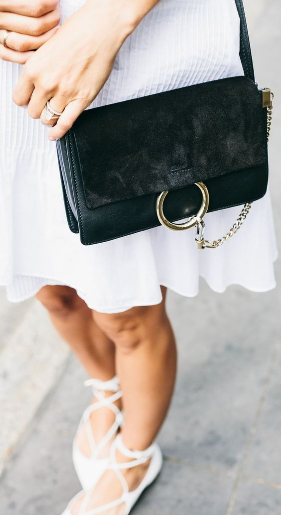 Damsel In Dior - Aquazzura Christy Lace Up Flats + Black Suede Chloe Faye Bag