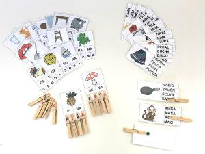 tarjetas imprimibles lectoescritura con pinzas