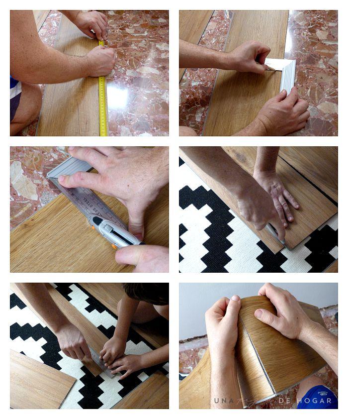 proceso de medición y corte del suelo vinílico