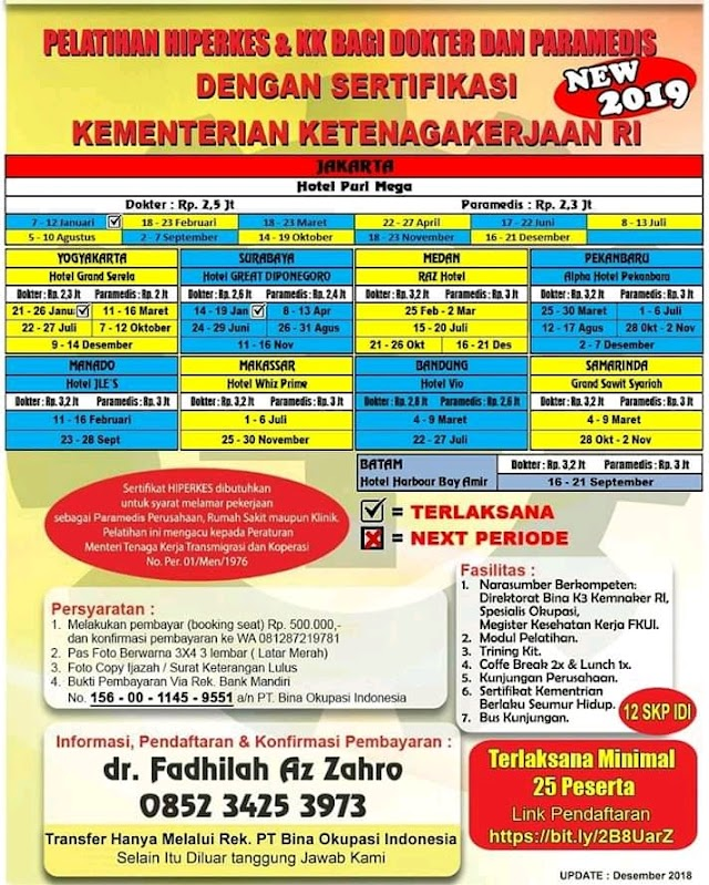 JADWAL Pelatihan HIPERKES JUNI 2019 BAGI DOKTER DAN PARAMEDIS (Jakarta, Surabaya)