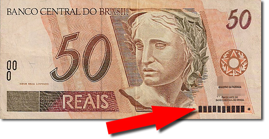 Cédulas Raras do Real - Cédula de 50 Reais números censurados