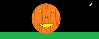 Round, carved, smiling pumpkin; triangle eyes and nose; one tooth; dark sky with crescent moon