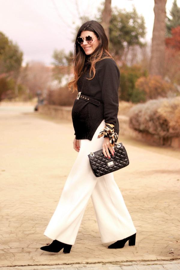 style pregnancy, moda premama, look embarazada, jersey cuello alto