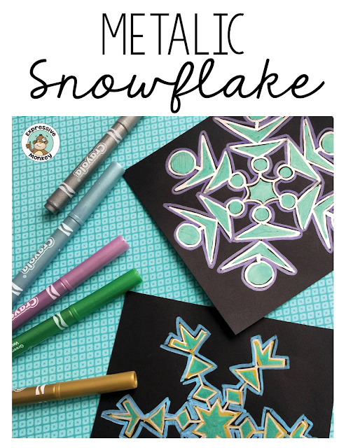 This metallic snowflake drawing lesson is easy to do and fun for kids!  See step by step how I made this snowflake and use it for your next winter activity. #metalicmarkers #artlesson #snowflakes #snowflakecraft