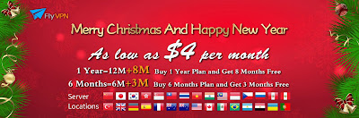 FlyVPN Xmas&New Year Offer 2013 - As low as $4 Per Month
