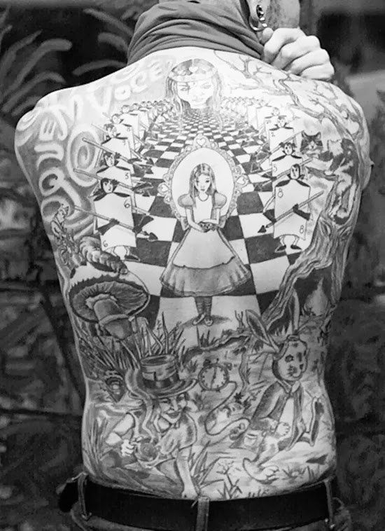 Alice in wonderland full back tattoo