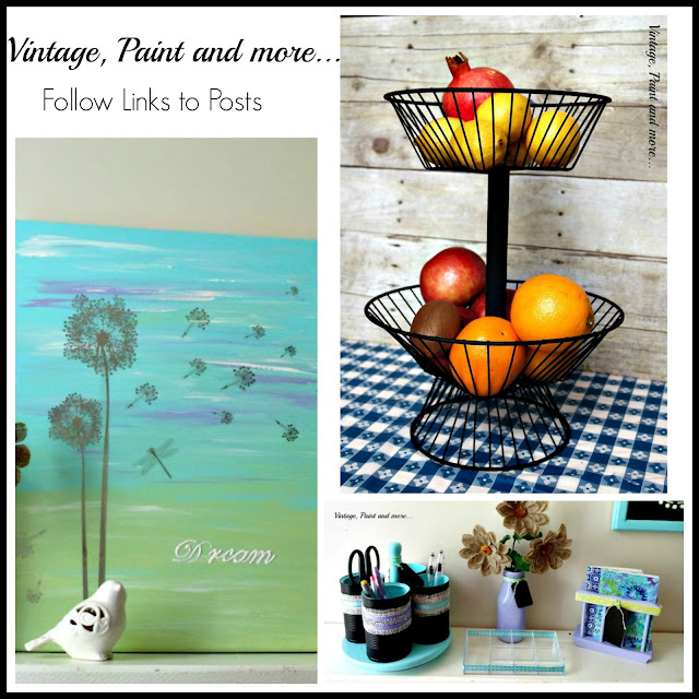 collage of wall art diy with craft paint and stickers, diy two tier wire basket, diy desk top organizers made from tin cans and thrifted items