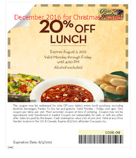 free Olive Garden coupons december 2016