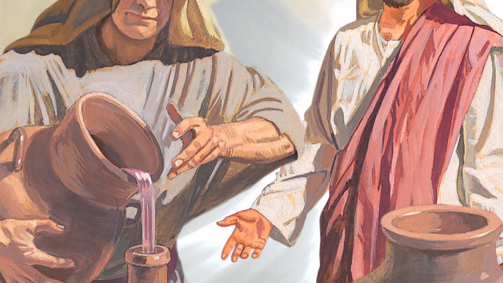 Ilustração da transformação de água em vinho