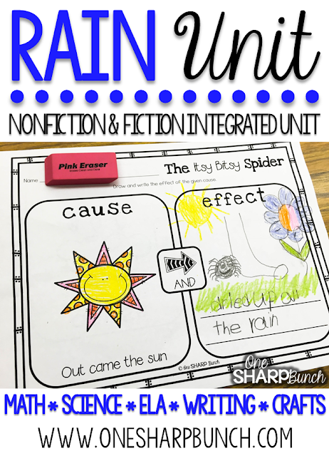 The Itsy Bitsy Spider - Learn all about rain this spring with over 35 math, science, ELA, writing and art activities in this 165 page PAIRED NONFICTION & FICTION INTEGRATED RAIN UNIT!  These rain activities are sure to keep your kiddos engaged as you learn about rain and the water cycle! Craftivities, vocabulary cards, student dictionaries, math and literacy centers, read aloud activities, emergent readers, and MORE!