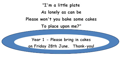 Year 1 Cake Sale this Friday