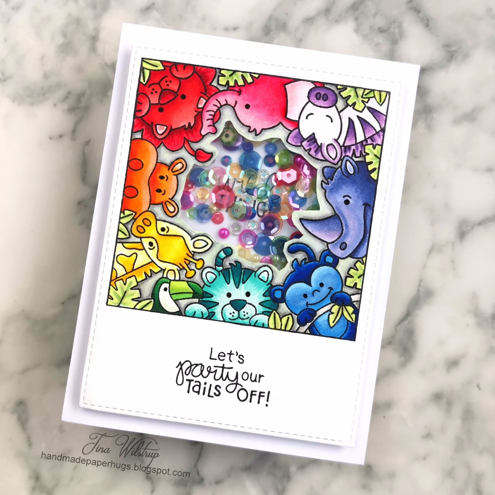 Zoo Party Shaker Card by January Guest Designer Tina Wilstrup | Zoo Party Stamp Set by Newton's Nook Designs #newtonsnook #handmade