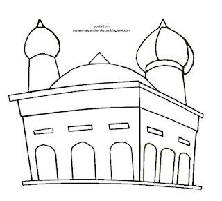 Gambar Sketsa Mewarnai Masjid Terbaru 201718
