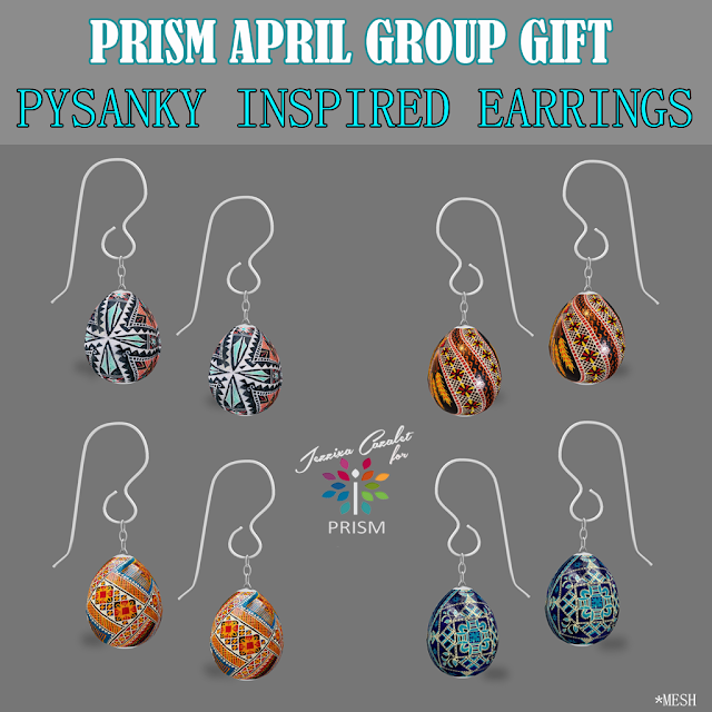 PRISM ~ New April 2019 Group Gift by Jezzixa. Pysanky Inspired Earrings