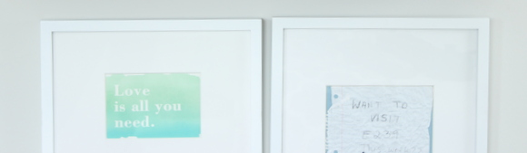 These simple frames highlight meaningful pieces of art
