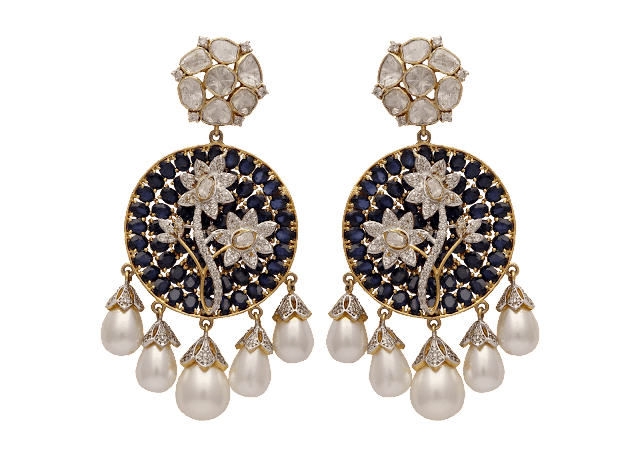 Elegant chanbali earrings curated in 18 K gold studded with uncut diamonds, floral design in fine-cut diamonds encircled by  blue sapphire and pearls by Tanya Rastogi for Lala Jugal Kishore Jewellers-