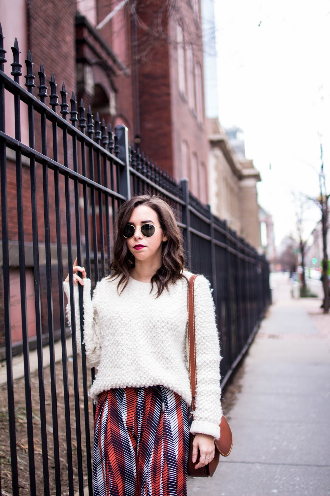 chic winter outfit. wool sweater.