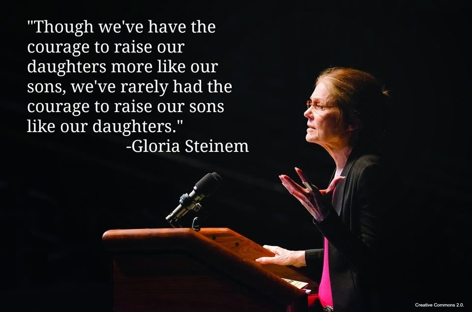 Woman speaker with a quote about gender equality, sons and daughters