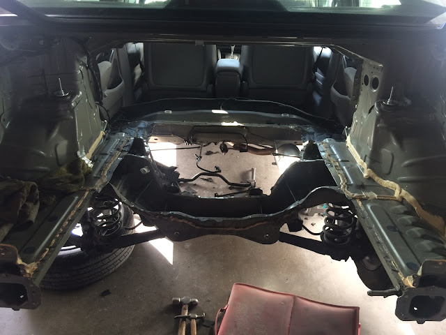 Looking inside the truck after the rear panel and floor have been removed.