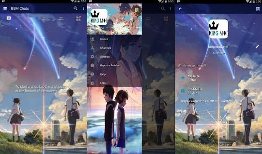 BBM MOD ANIME Kimi no Nawa YOUR NAME v3.0.1.25 Full Features Terbaru Clone / Unclone